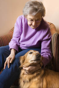 Senior Woman and Dog