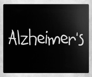 Word Alzheimer's on black board